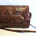 Borsa vintage donna tracolla marrone pelle coccodrillo anni 70 brown leather bag